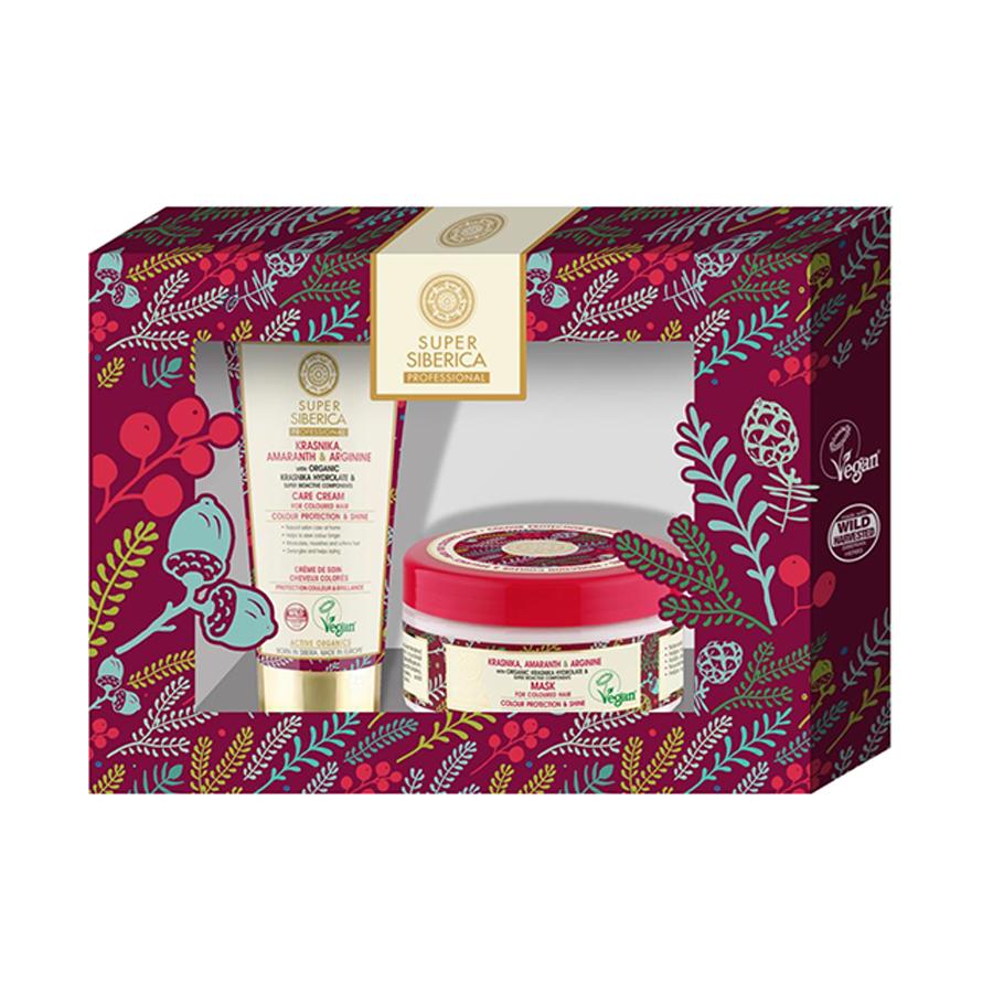 Super Siberica gift set ( krasnika,amaranth & arginine mask for coloured hair 300 ml,  krasnika,amaranth & arginine care cream for coloured hair 50 ml ) - Super Siberica |  Σετ δώρου στο Make Up Art