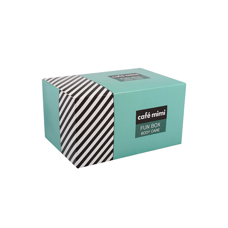 Body Care Set Fun Box  Moisturizing body lotion 150ml - Effervescent anti-stress bath salt 100g - Glycerine soap 100g - Cafe Mimi |  Φυτικά Προϊόντα στο Make Up Art